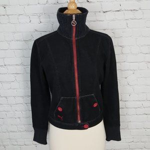 Puma Front Zip Jacket French Terry Black Red sz M